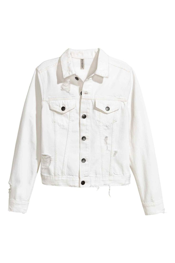 Trashed denim jacket - White denim - Ladies | H&M GB