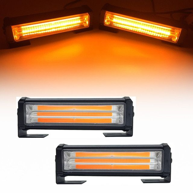 40w Cob Car Truck Front Grille Led Strobe Flash Warning Light Bar 8 Modes Change Styling Fireman Police Emergency Work F Led Strobe Warning Lights Bar Lighting