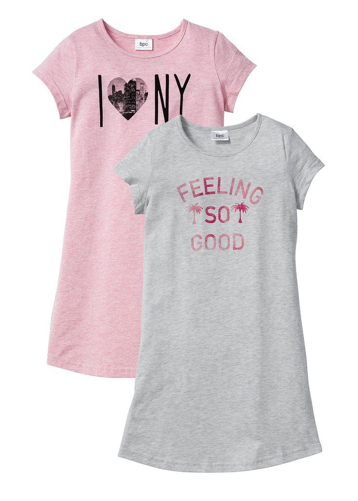 Ночная сорочка (2 шт.), bpc bonprix collection, натуральный меланж/розовая пудра/серый меланж