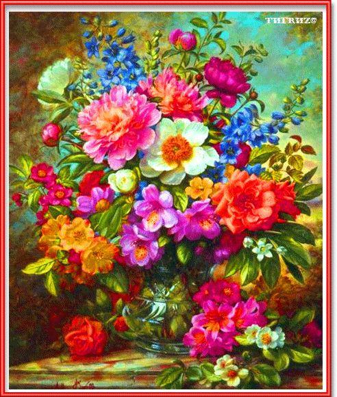 Яркие душистые цветы на столе - Цветы анимационная картинка, открытка gif, картинка