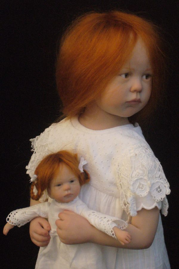 Little Girl in White with her Doll by artist, Laurence Ruet, from France. Her one-of-a-kind dolls are hand sculpted without molds using polyresin (fimo, sculpey living doll or prosculpt). The facial details are painted in acrylic. The eyes are glass & mohair is used to create the dolls hair. Clothes, shoes, & accessories are all handmade by the artist / http://laurenceruet.com