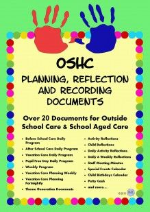Outside School Care Planning, Reflection and Recording Documents for OSHC, OOSH, OOSHC, Vacation Care, VacCare, Child Care, EYLF, Early Years to keep track of MTOP outcomes and meet the National Quality Standards NQS outcomes by KR Learning