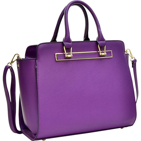 Dasein Faux Saffiano Leather Winged Satchel With Shoulder Strap ($32) ❤ liked on Polyvore featuring bags, handbags, purple, satchel bag, purple satchel handbag, dasein satchel, saffiano leather satchel and saffiano leather handbags