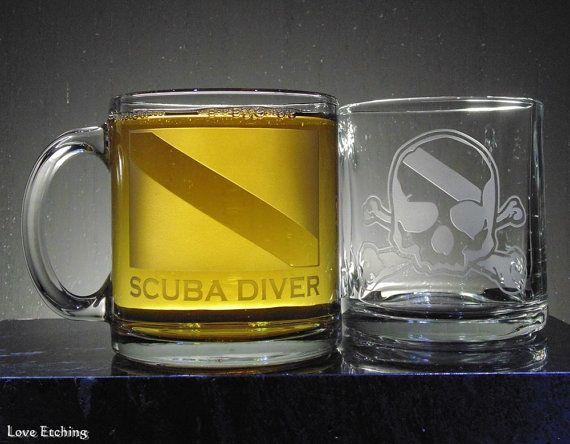 SCUBA DIVER Dive Flag Etched Glass Coffee or Tea Mug