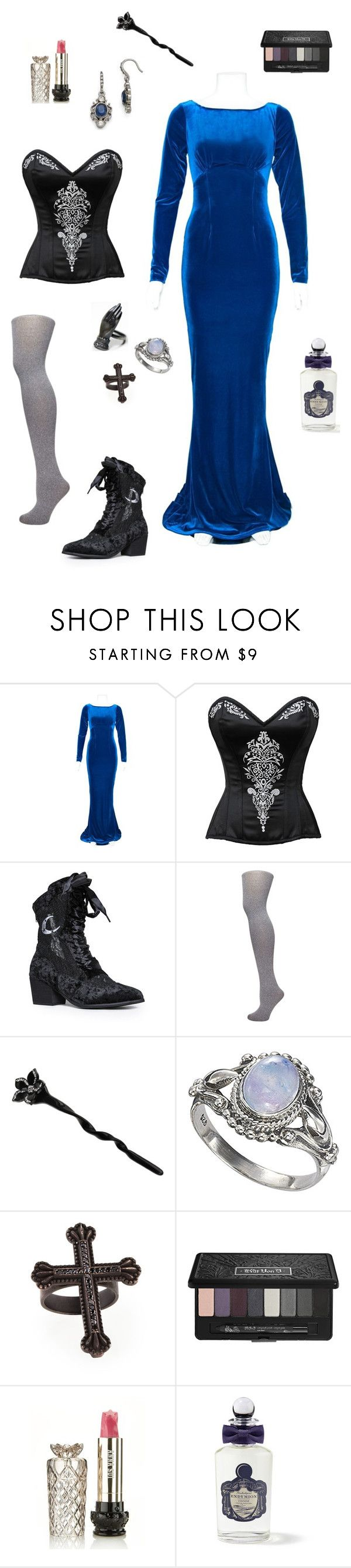 """""""blue gothic"""" by apeculiarpersonage ❤ liked on Polyvore featuring Dorothy Perkins, France Luxe, KATIE Design, Kat Von D, Anna Sui and PENHALIGON'S"""