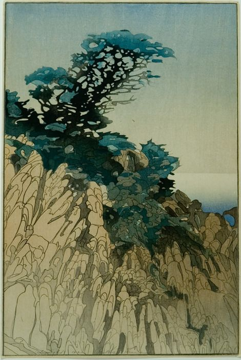Bertha Boyton Lum (1879-1954)  Point Lobos  1920: Bertha Boyton, Boynton Lum, Artists Lum, Teal Color, Woodblock Prints, Bertha Boynton, Bertha Lum, Artists Paintings, 1879 1954