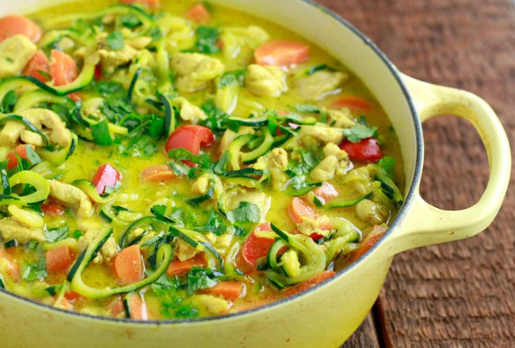 Chicken Curry with Zucchini Noodles #justeatrealfood #savorylotus