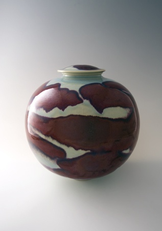 Brother Thomas - Large Globular Vase With Cover, porcelain with copper red and opal blue celadon