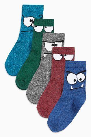 Multi Monster Face Socks Five Pack (Older Boys)