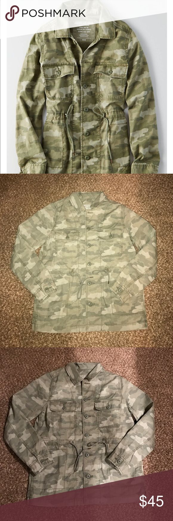 American Eagle Camouflage Jacket +free socks New with tags, size small. Get free AE crew socks with this purchase. **ALL PURCHASES SHIP TOMORROW, 3/10** American Eagle Outfitters Jackets & Coats Utility Jackets
