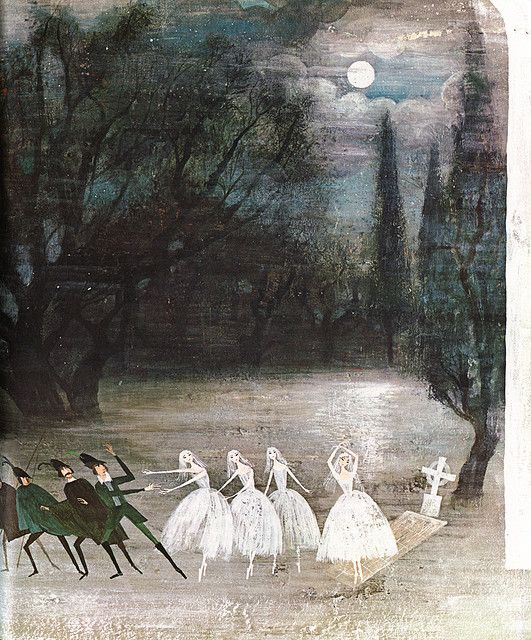 """llustration from Giselle, """"Tales of the Ballet"""", Golden Press 1968. Illustrated by Alice and Martin Provensen"""