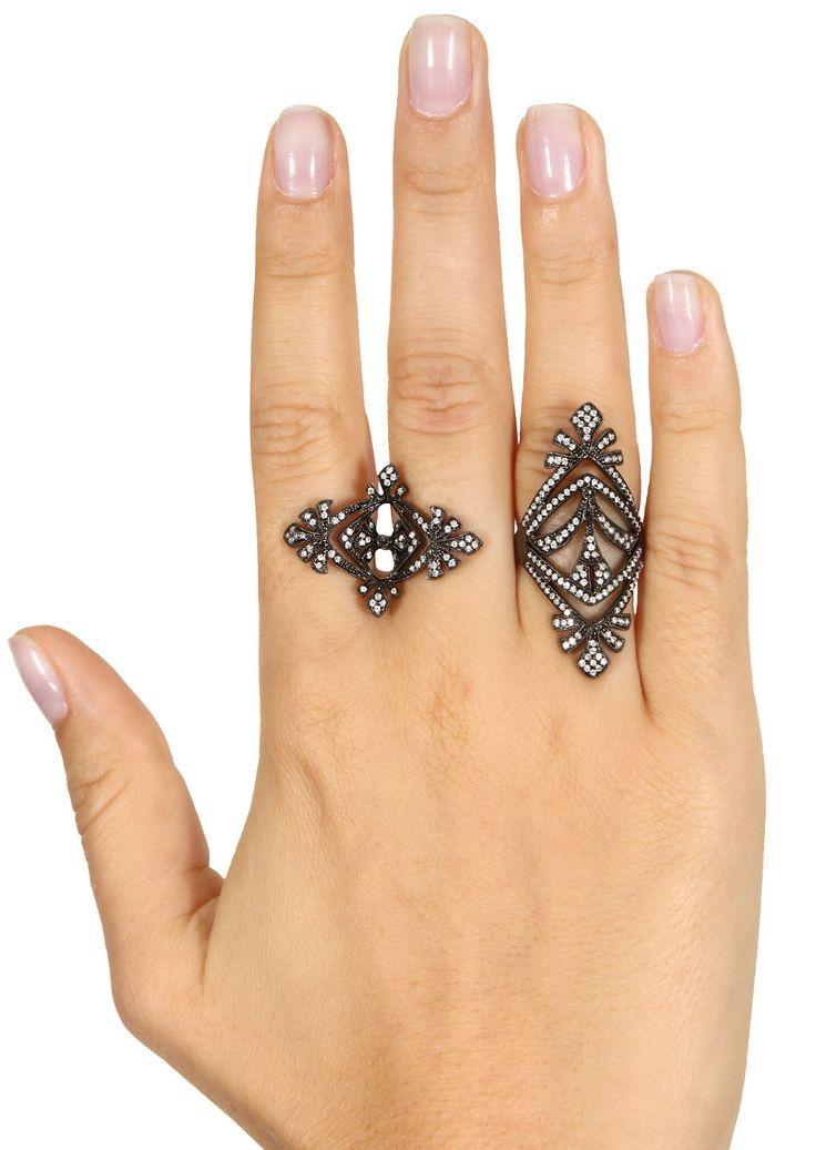 Joëlle Jewellery Antique tip finger ring - Black 1KEBLt