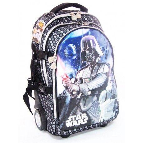 Mochila Trolley Star Wars (Darth Vader).  Mochila infantil con temática de Star Wars (La guerra de las galaxias), con un tamaño mediano (46,5 x 31 x 21 cm), perfecto para que tu hijo vaya al colegio acompañado de sus personajes favoritos.
