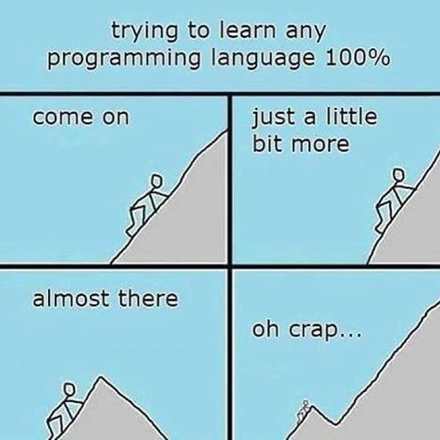 웃프다 ㅋㅋㅋㅋ ㅠㅠ #trying #to #learn #any #programming #language #100% #oh #crap #c #c #java #python #go #delphi #ruby #javascript #nodejs #php #c# #object-c #perl #R #scala #haskell #matlab #visualbasic #swift #groovy #.net #D #assembly