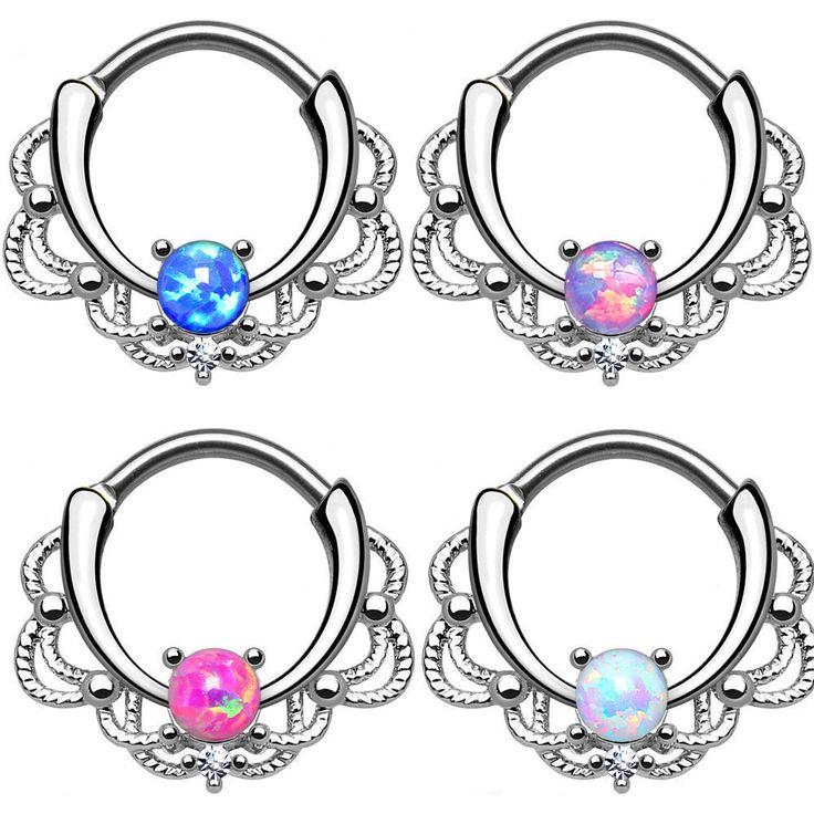 1PC 16G Opal Septum Clicker Titanium Shaft Nose Earring Nose Ring Studs Septum Nose Hoop Body Piercing Jewelry