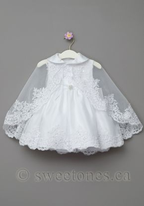 f23037363 Girls lace satin Christening dress with cape– Style BG-Victoria ...