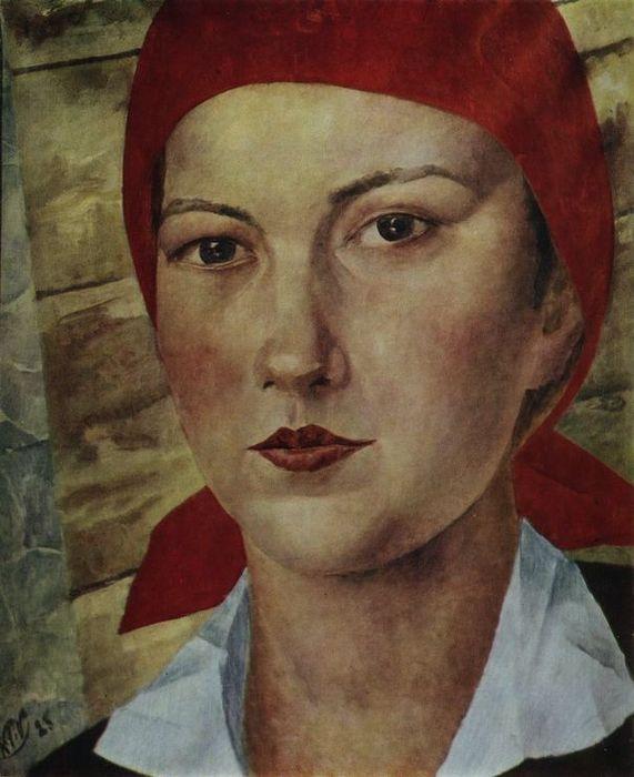 Кузьма Петров-Водкин 1878 - 1939  Девушка в красном платке (Работница) 1925 Холст, масло. 61 x 50 см  Частное собрание