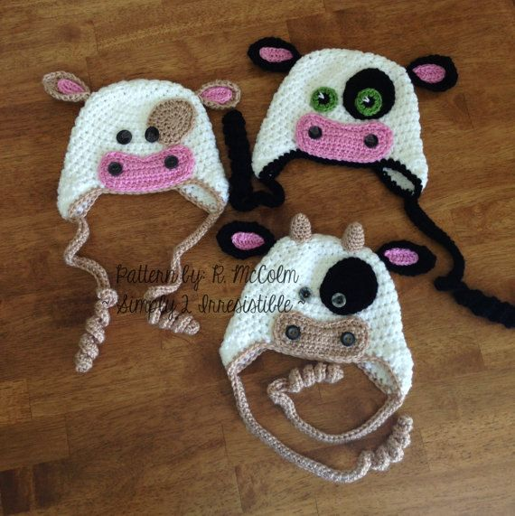 Bull Cow Hat Pattern - Crochet Pattern 4 - Beanie and Earflap Pattern - Newborn to Adult - US or UK Terms 2.99