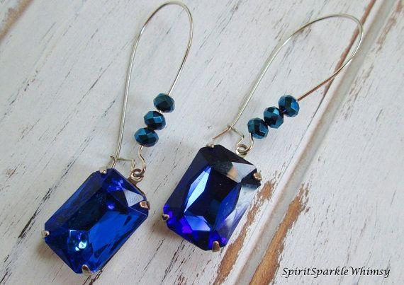 Blue Rhinestone Earring, Sapphire Earring, Blue Topaz Earring, Blue Rhinestone Earrings Bridal, Rhinestone and Spiritual Jewelry