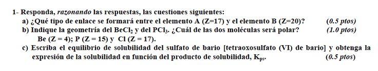 Ejercicio 1, propuesta 2, JUNIO Fase General 2009-2010. Examen PAU de Química de Canarias. Temas: estructura atómica.