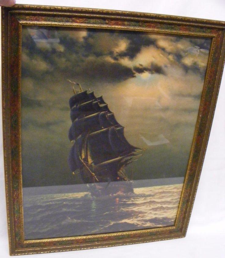 """Vintage 1940's Framed Litho Print Of Old Ironsides Ship 16"""" x 20"""" Original Frame Track Page Views With Auctiva's FREE Counter #ship #original #frame #ironsides #print #framed #litho #vintage"""