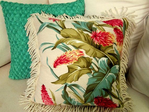 "Tropical Hawaiian Vintage Barkcloth Fringed Pillow Cover - Pattern ""Tropica"" 2…"