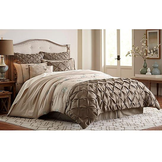 Essential home jacobean 8 piece comforter set taupe for Purple and taupe bedroom