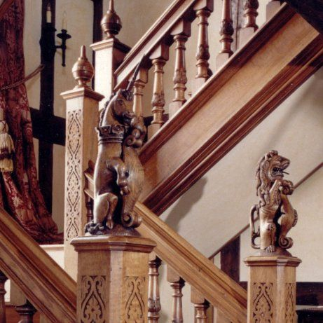 Magnificent Hand Carved Oak Finials Of Mythical Beasts