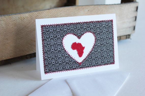 I Heart Africa Brown and Red Shweshwe fabric by luvieduviehandmade