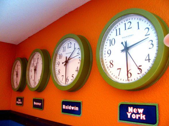 Around the World theme using clocks...