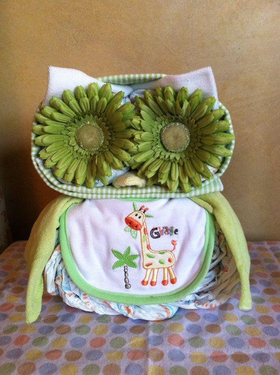 Owl Diaper Cake Owl Baby Shower Diaper by TeensyTinyBabyGifts, $40.00