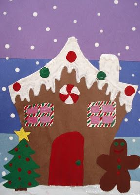 Gingerbread House: construction paper, tempera paint, glitter