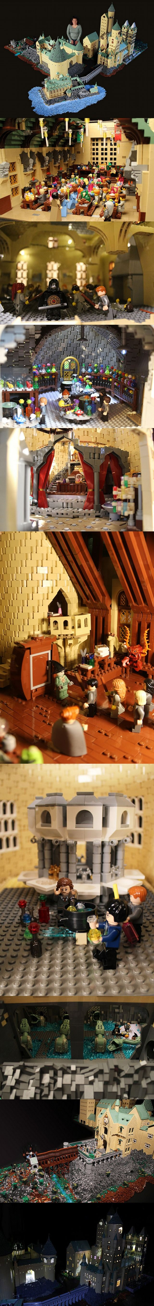 Welcome to Hogwarts School of Witchcraft and Wizardry. This version of Hogwarts is made of about 400,000 bricks and took 12 months to build. It is designed to be architecturally accurate and completely playable. It breaks into sections that pack into 35 large flat boxes or shelves.