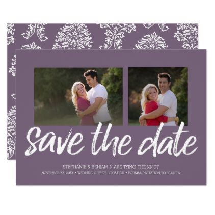 #Orchid Save the Date - 2 Photo Modern Lettering Card - #bride gifts #bridal ideas unique personalize