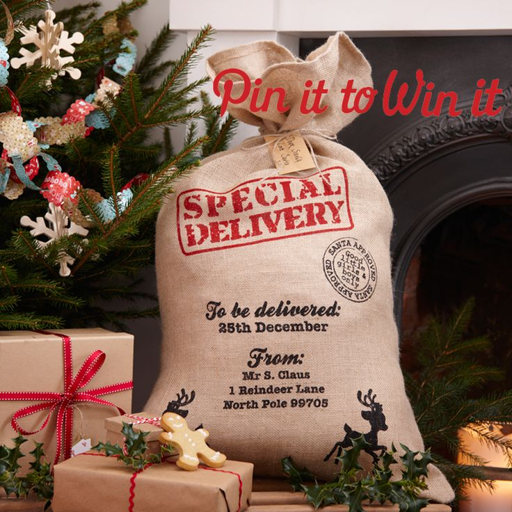 RE-PIN this image to WIN this gorgeous Hessian Christmas Santa Sack! The winner will be announced here in the comments on Monday 24th November. Good luck!