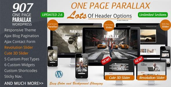 """Great one page WP theme with tons of options and features. Not only will the PARALLAX feature be on the main one page, but you can also select a DEFAULT PARALLAX section and even a """"page section"""" to be displayed across all other pages… AND You can change parallax/page sections per blog post/pages, choosing a different one or setting to none."""