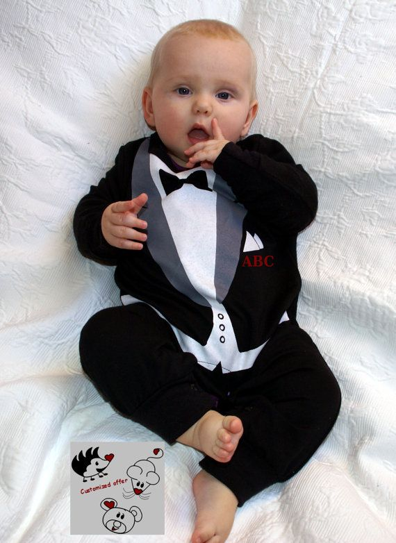 Tuxedo Onesie Personalized With Baby Initials Embroidery Infant 4th Of July Fathers Day Mothers Wedding