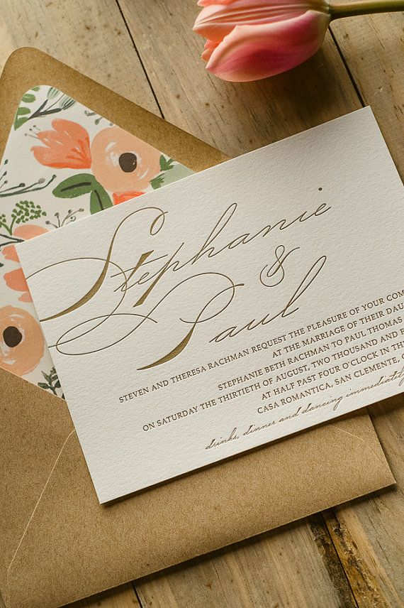 Floral Rustic Calligraphy Letterpress Wedding by JustInviteMe, $12.50
