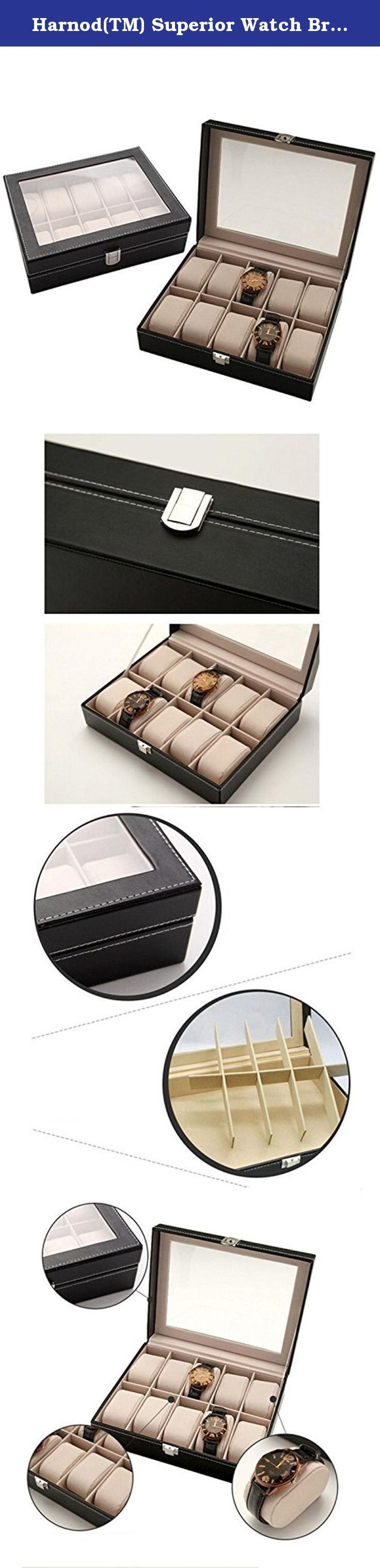 Harnod(TM) Superior Watch Bracelet Box Velvet Gift Display Jewellery Case August 9. 100% brand new and high quality. Quantity: 1 Watch Display Storage Box Holder Best for displaying your watches whatever in a shop or on your dressing table Perfect for personal use and business use Material: PU leather(Surface), suede(Inside) 10 insert slots and10removable pads inside for keeping watches organized, suit your needs perfectly Also Ideal for home jewelry Decoration Keep the watches dust free...