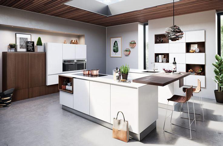 2065 | 5082 | Polar white | Wild oak sherry pore structure veneered - Häcker Küchen - Häcker Küchen