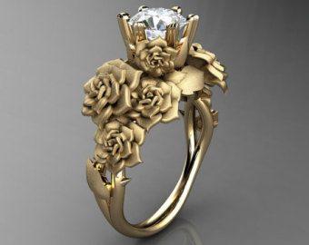 Naturaleza inspirada 14 K amarillo oro Ct 1,0 simulado diamante Circonita rosa ramo hoja y anillo de compromiso de vid R427-14KYGSCZ