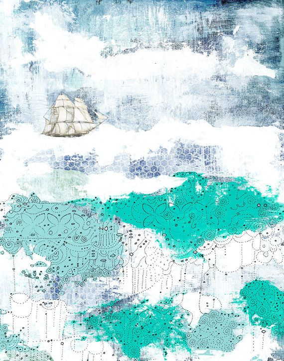 Nautical Art Print, Ocean Painting Reproduction , 11x14 Giclee Print , Whimsical Mixed Media Collage Art
