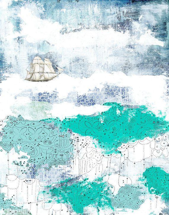 Nautische Kunstdruck, Ozean-Gemälde-Reproduktion, 11 x 14-Giclée-Druck, Whimsical Mischtechnik Collage Kunst