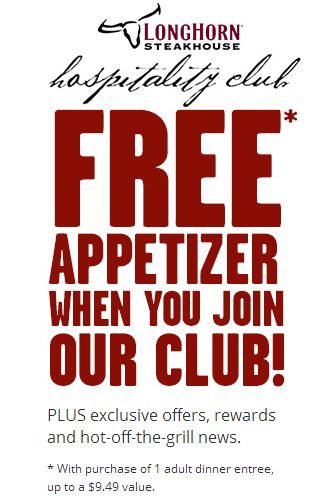 LONGHORN STEAKHOUSE $$ Coupon for FREE Appetizer!