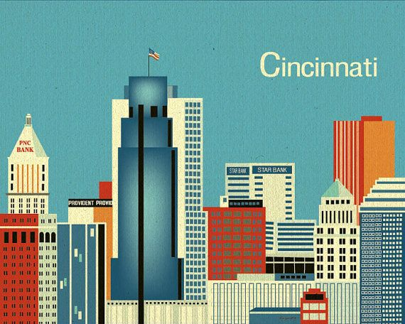 Cincinnati, Ohio Horizontal Skyline Original Art - Gift  Poster Print Wall Art for Home, Child's Room, and Office - style E8-O-CI