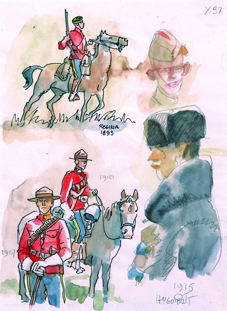 Hugo Pratt - studies of Mounties