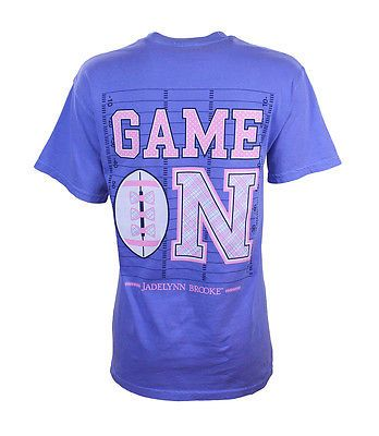 Jadelynn Brooke Deep Periwinkle Purple Game On  Football SS Tee Shirt L New