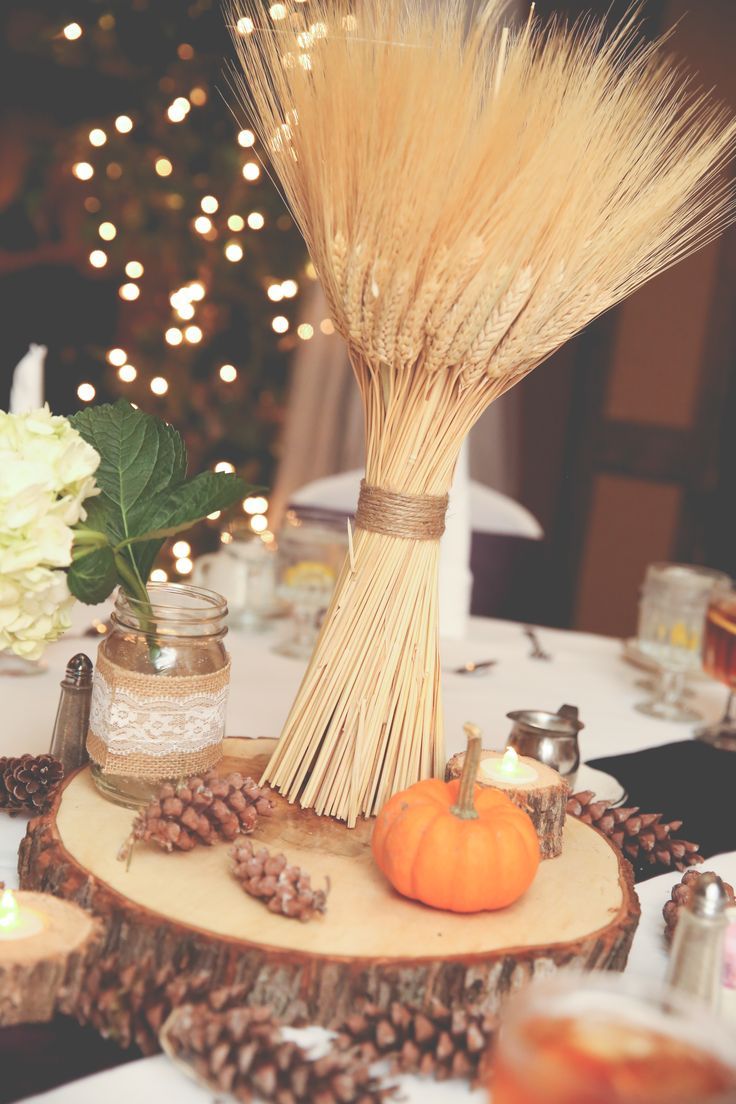 Fall-Inspired Wheat, Pumpkin and Pine Cone Centerpieces