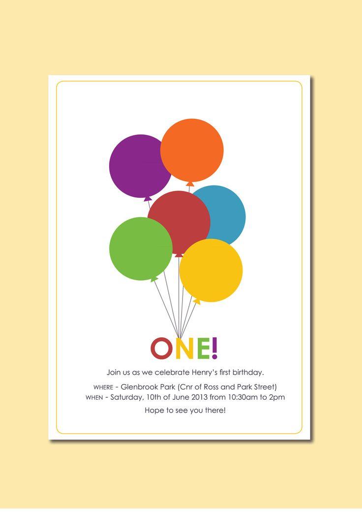 Balloon theme birthday invite
