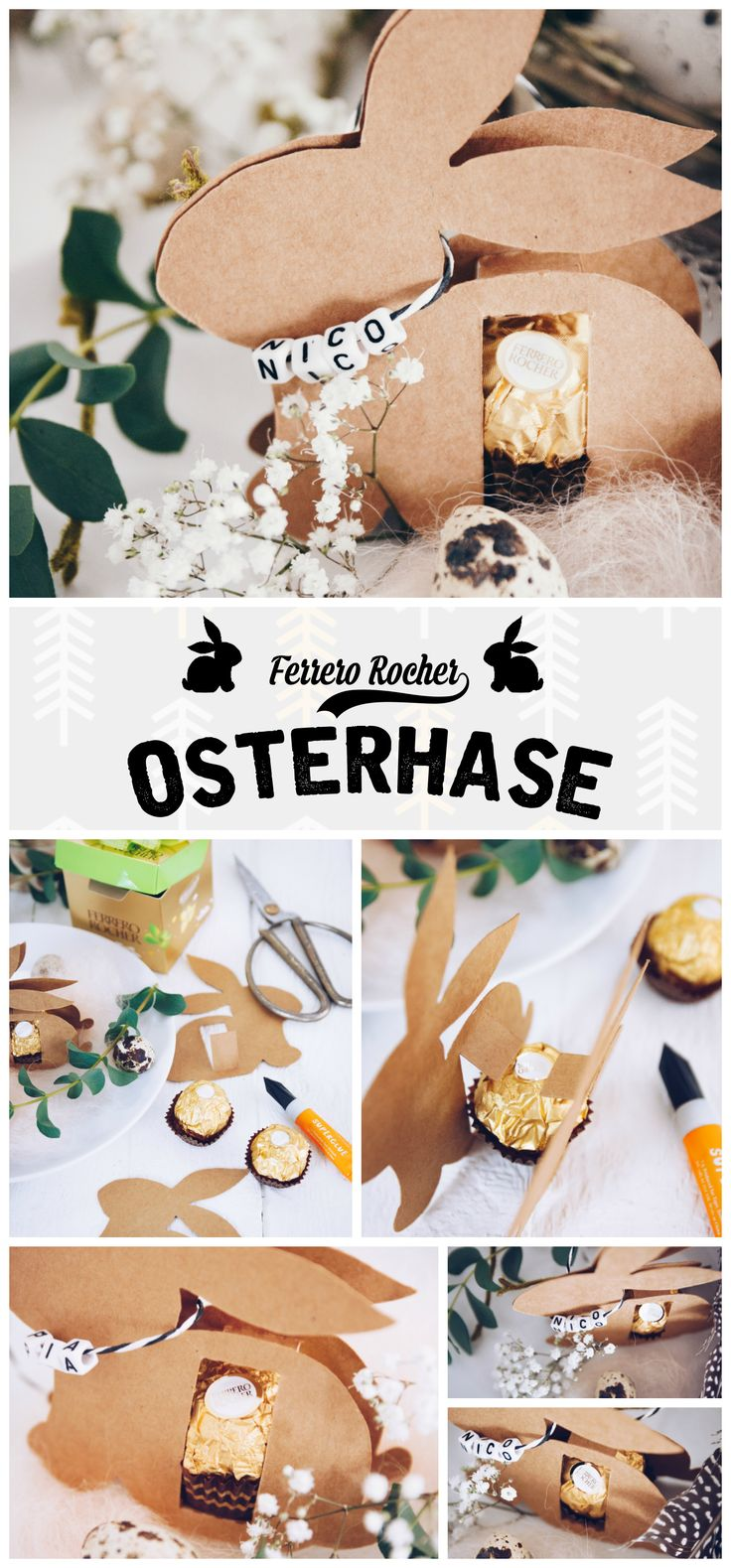 Anleitung für den DIY Osterhasen mit Ferrero Rocher (inklusive Gratis-Vorlage) - perfekt als Tischkarte für den Osterbrunch oder als selbstgemachtes Mitbringsel zu Ostern - by titatoni.blogspot.de - DIY easter bunny made with Ferrero Rocher - a perfekt little handmade gift!